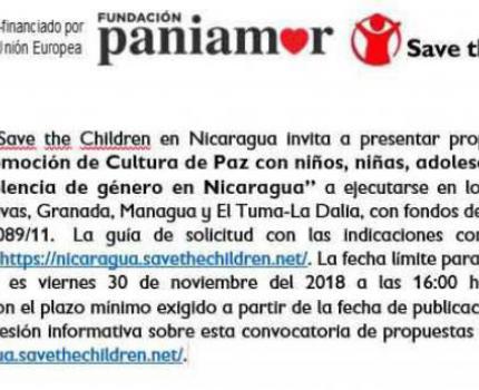 """Convocatoria de proyecto: """"Promoción de Cultura de Paz con niños, niñas, adolescentes y lucha contra la violencia de género en Nicaragua"""""""